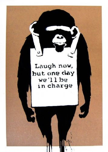 BANKSY - LAUGH NOW MONKEY - brown canvas print - self adhesive poster - photo print